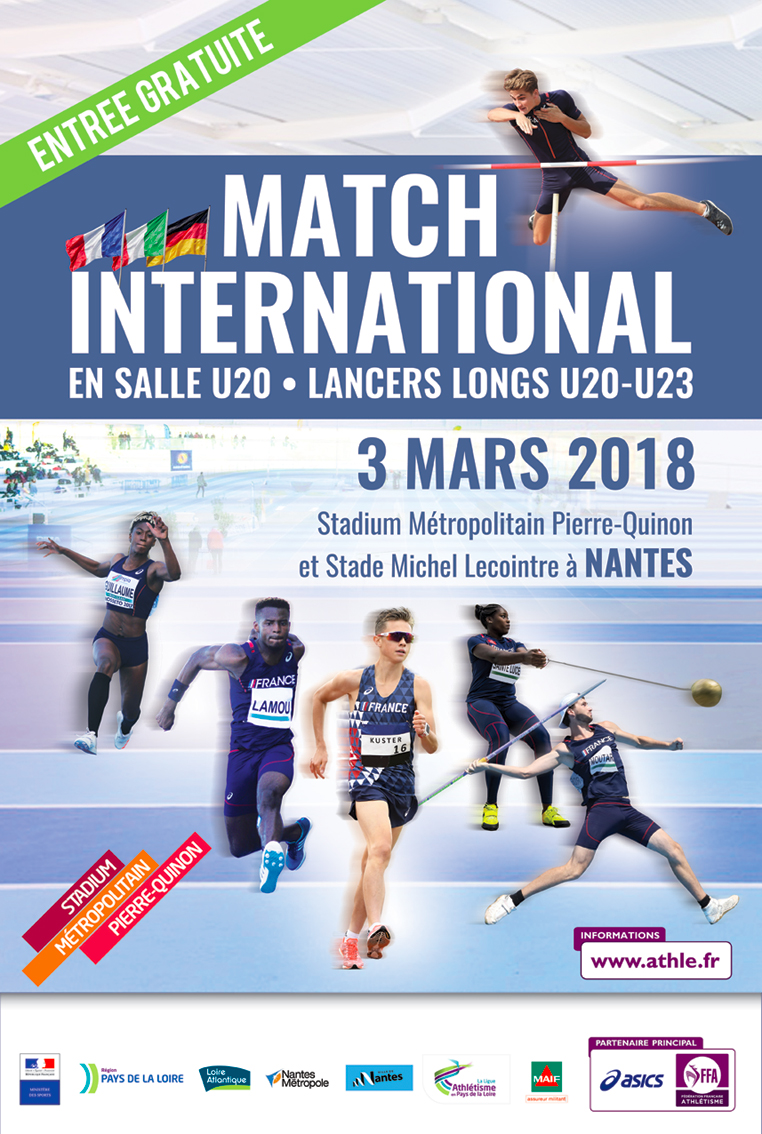 Affiche Athlétisme Match international à Nantes